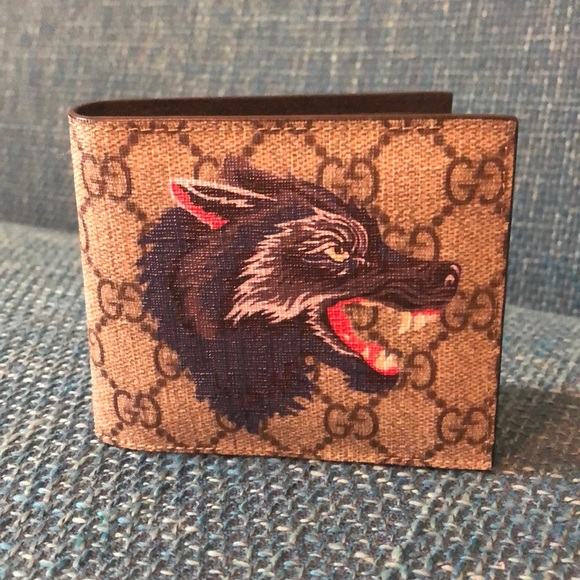 6449964db5 Wolf Printed GG Supreme Classic Wallet Beige Multi